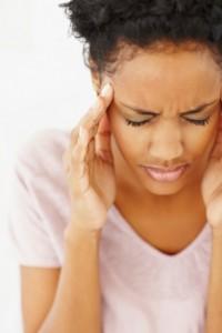 Woman with sinus headache